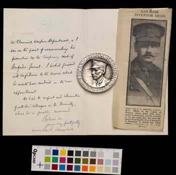 A letter from Winston Churchill to Edward Harrison's widow, alongside a medal and a photo of Harrison