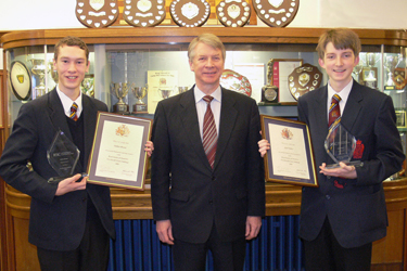 RSC CEO Richard Pike with Nathan Brown and Aled Walker, winners of RSC 5-Decade Exam Challenge