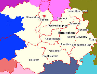 West Midlands Map Birmingham & West Midlands