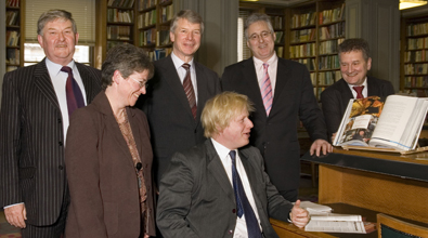From left to right: Professor David Phillips OBE, Libby Steele, Richard Pike, Boris Johnson MP, Stephen Benn, Rodney Townsend