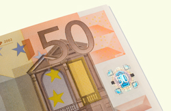 50 Euro note showing hologram