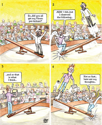 Cartoon of a flipped classroom