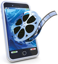 A video reel coming out of a mobile phone
