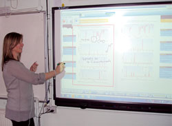 A teacher using an interactive whiteboard