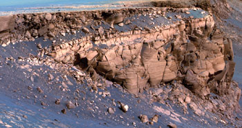 Rocky layers on the Martian surface