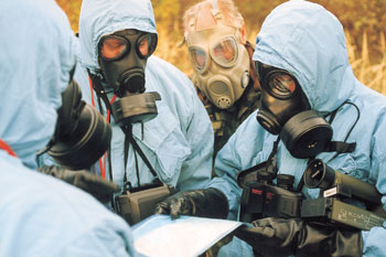 Chemical weapons inspectors at work