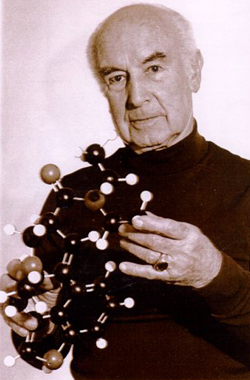 Hofmann and LSD molecule. Albert Hofmann Foundation