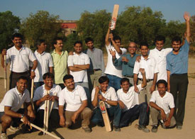 Oxygen Healthcare's Indian research team plays cricket every Friday morning