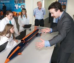 Daniel Jubb with a Bloodhound model and children
