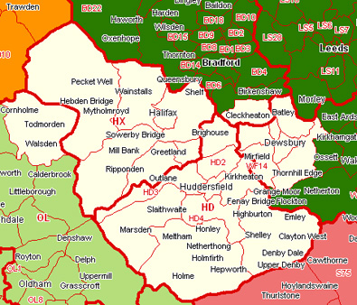 Map Of Huddersfield Huddersfield