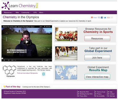 A screenshot from the Chemistry in the Olympics website