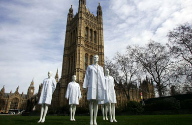 Mannequins outside the houses of parliament