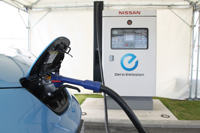 Nissan Leaf electric vehicle charging