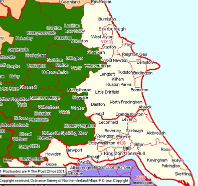 East Yorkshire Map Hull and East Yorkshire Local Section