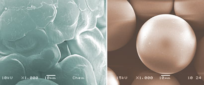 Microspheres with rough and smooth surfaces