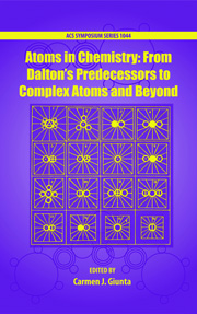 Book cover - Atoms in chemistry: from Dalton's predecessors to complex atoms and beyond