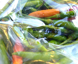 Many vegetables, wrapped in a plastic coating