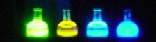 fluorescent solutions in flasks