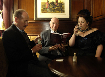 Author John Emsley with actors portraying Crippen and his wife Belle Elmore