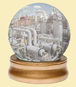 crystal ball with chemical plant inside