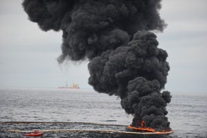 Oil burns during a controlled oil fire in the Gulf of Mexico