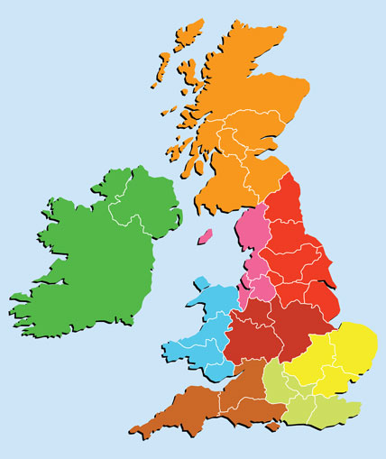 Map of UK divided into regional areas
