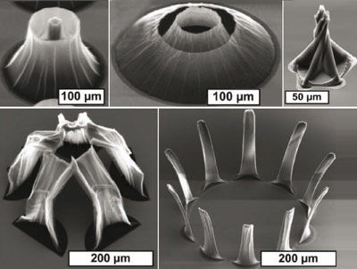 Nanotube cones, spires, domes and arches