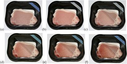 تصویری از گوشت بسته بندی شده در غیاب اکسیژن (a) و پس از فعال سازی شناساگر (b).سپس قسمتی از بسته بندی برداشته شده تا اکسیژن نفوذ کند(c). پس از یک روز (d)، دو روز (e) و 4 روز (f) در یخچال شناساگر به تدریج آبی می شود.