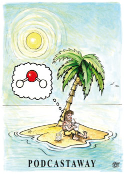 A man on a desert island, thinking of a water molecule