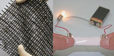 A stretchable matrix of transistors (left) and elastic conductor (right)