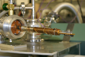 Thermoelectric material installed in cryogenic instrument used for testing
