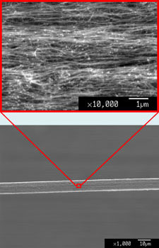 SEM images of a carbon nanotube fibre at different magnifications