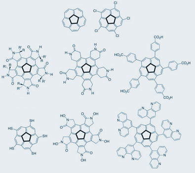 Corannulene and derived structures